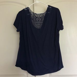 Faded Glory Tops - Faded Glory cowl neck lace back blouse in navy
